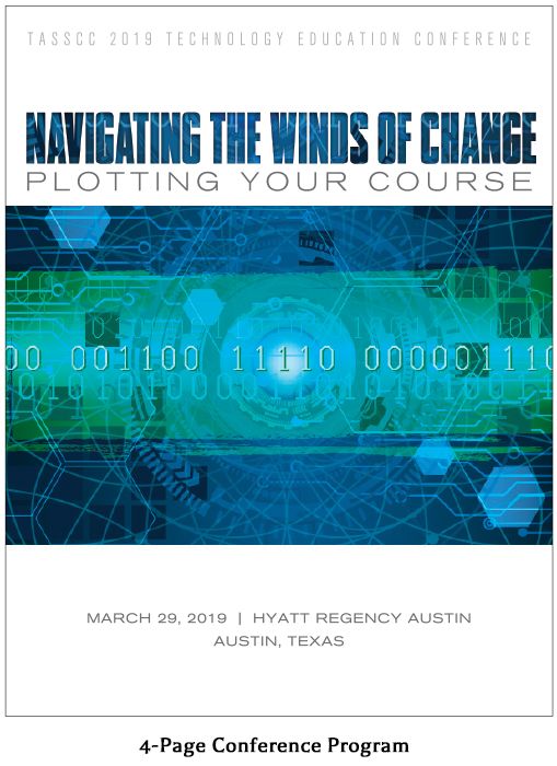 Spreads from the 4-Page program for Navigating the Winds of Change - a Texas Association of State Systems for Computing and Communications (TASSCC) tech seminar