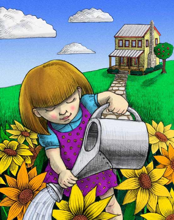 Watering Girl © 1998 Randy Mott
